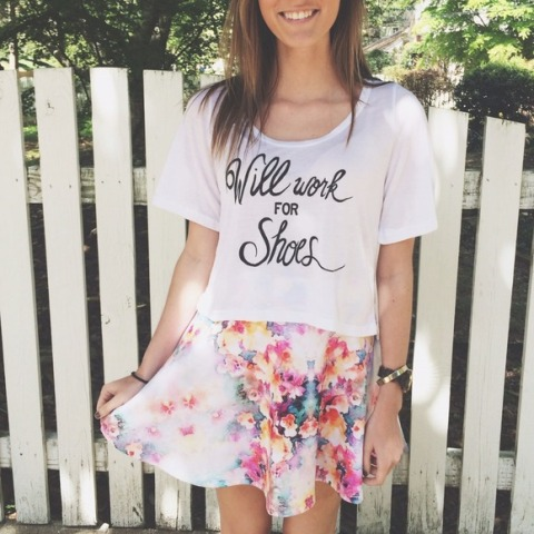 Funny shirt with watercolor mini skirt