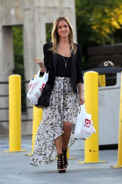 Look with jacket, floral high low skirt and heels