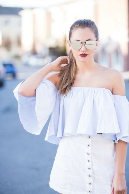 Cool look with ruffle top and button front skirt