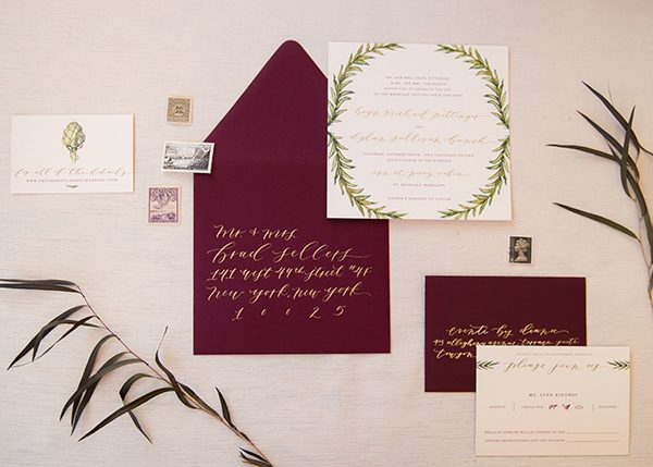 plum colored invitations - photo by L. Hewitt Photography http://ruffledblog.com/heirloom-inspired-island-wedding