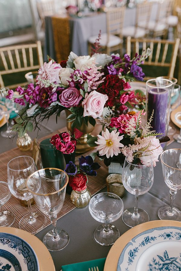 pink and purple wedding flowers - photo by Emily Delamater Photography http://ruffledblog.com/maine-wedding-with-an-emerald-green-gown