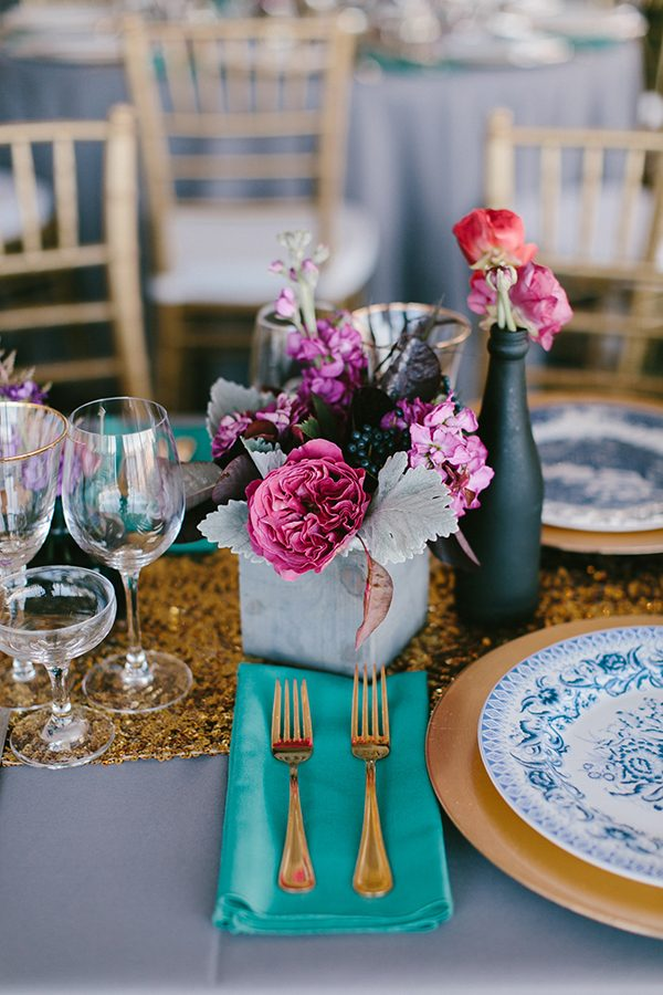 purple wedding details - photo by Emily Delamater Photography http://ruffledblog.com/maine-wedding-with-an-emerald-green-gown