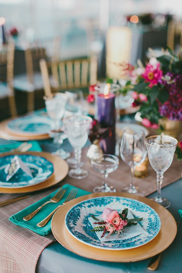 wedding reception decor - photo by Emily Delamater Photography http://ruffledblog.com/maine-wedding-with-an-emerald-green-gown