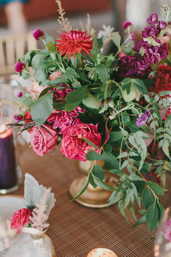 pink wedding flowers - photo by Emily Delamater Photography http://ruffledblog.com/maine-wedding-with-an-emerald-green-gown