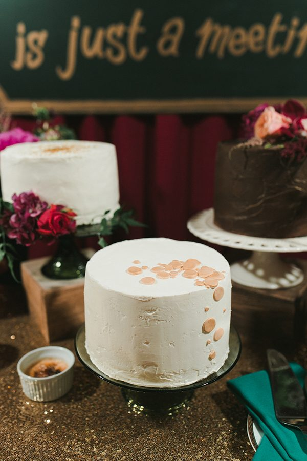 wedding cake ideas - photo by Emily Delamater Photography http://ruffledblog.com/maine-wedding-with-an-emerald-green-gown