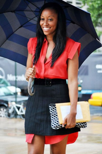 Creative look with skirt over the shirtdress