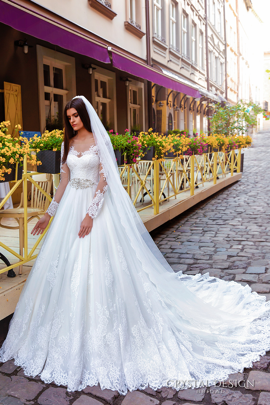 crystal design bridal 2016 sheer long sleeves sweetheart neckline heavily embellished bodice belt princess ball gown wedding dress chapel train (modena) mv