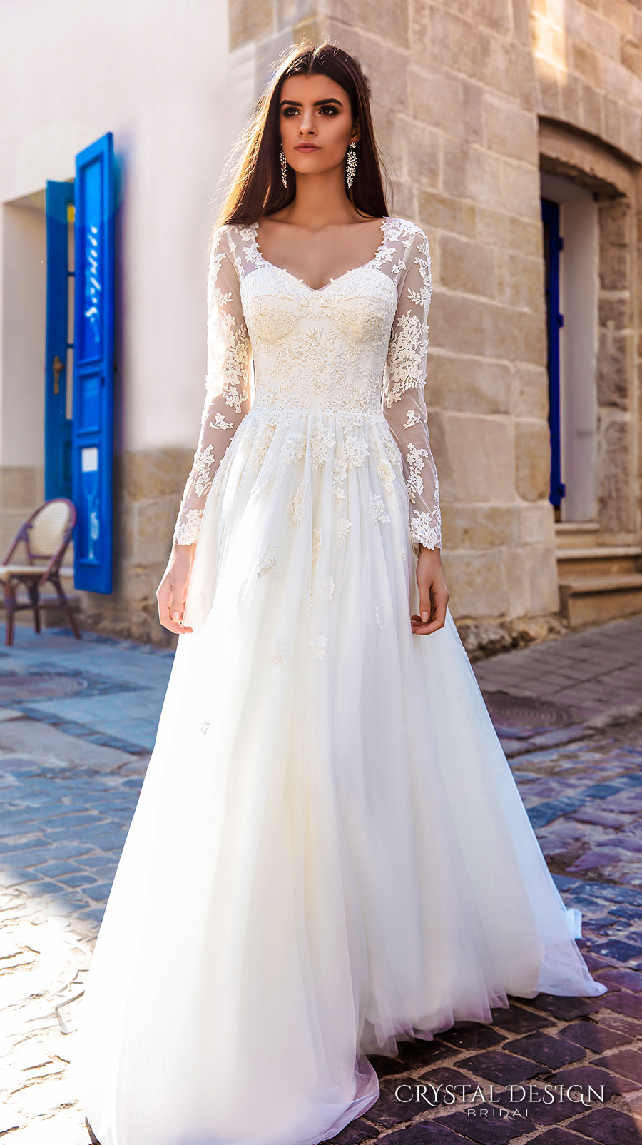 crystal design bridal 2016 sheer long sleeves v neck lace bodice corset tulle skirt elegant modified a line weding dress chapel train (siena) mv