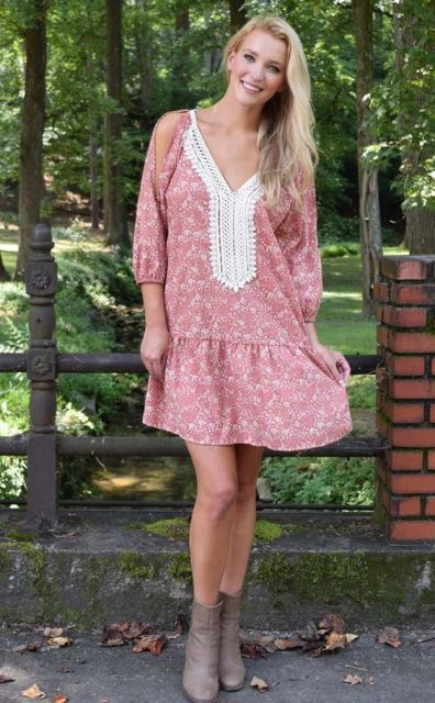 Printed drop waist dress and boots