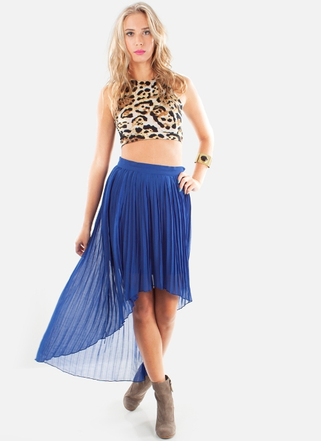 Animal printed top with high low skirt