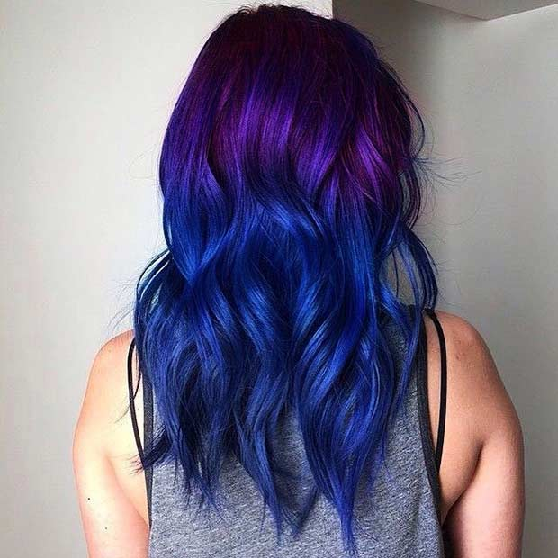 Purple to Dark Blue Ombre Hair Look