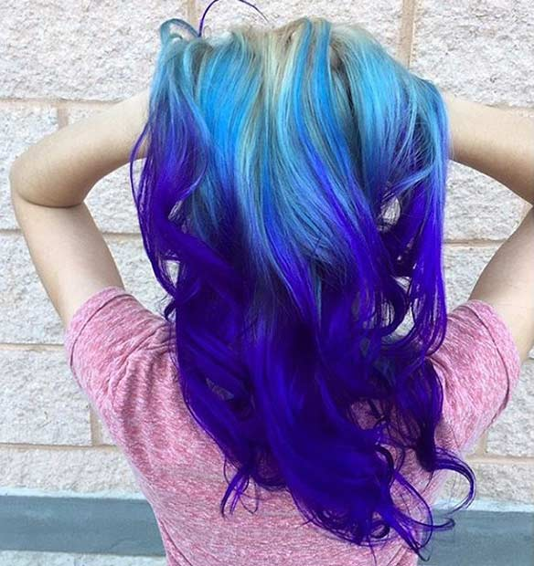 Blue and Purple Ombre on Blonde Hair