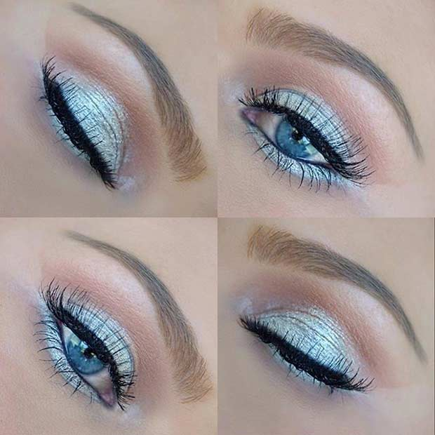 Silver Metallic Eye Makeup Look