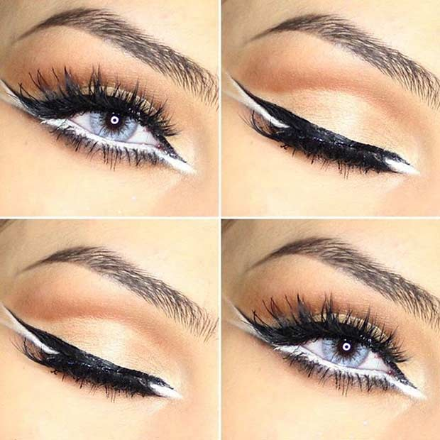 Black and White Eyeliner Eye Makeup Look