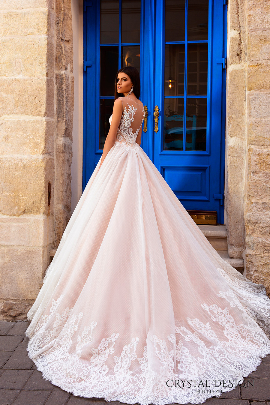 crystal design bridal 2016 sleeveless illusion round neckline v neck lace embellished bodice gorgeous princess ball gown wedding dress chapel train (avrora) bv