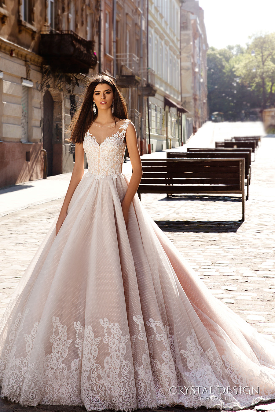 crystal design bridal 2016 sleeveless illusion round neckline v neck lace embellished bodice gorgeous princess ball gown wedding dress chapel train (avrora) mv