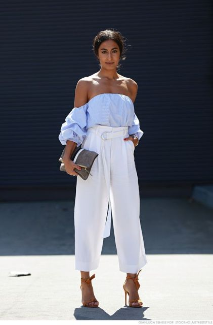 Charming look with white high waist pants and off the shoulder blouse