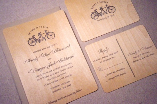 Wood wedding invitations with print