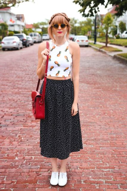 Funny look with polka dot skirt and fruit print top