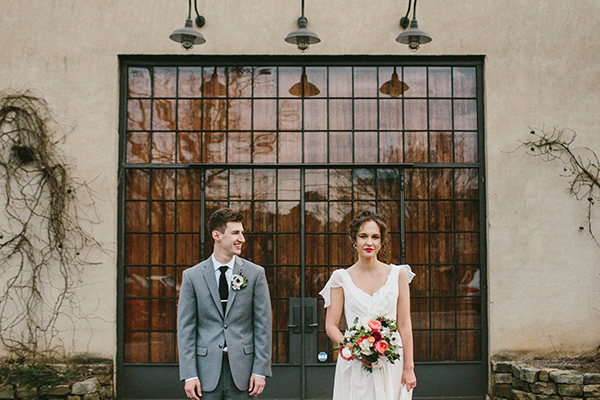 gray suits - photo by W&E Photographie http://ruffledblog.com/modern-industrial-atlanta-wedding