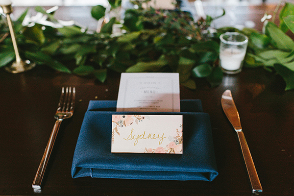 place settings - photo by W&E Photographie http://ruffledblog.com/modern-industrial-atlanta-wedding