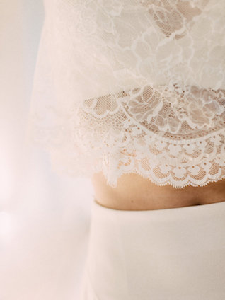 Two piece lace crop top wedding dress | SUEGRAPHY