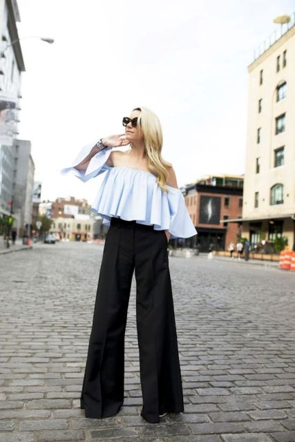 Blue ruffle top with trousers