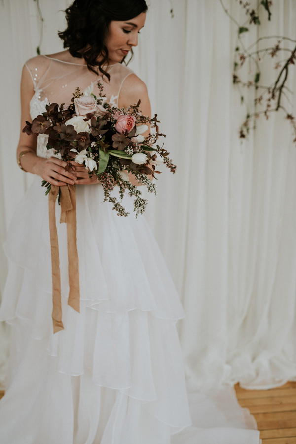 vintage bouquets - photo by Kate Touzel Photography http://ruffledblog.com/modern-metallic-wedding-inspiration