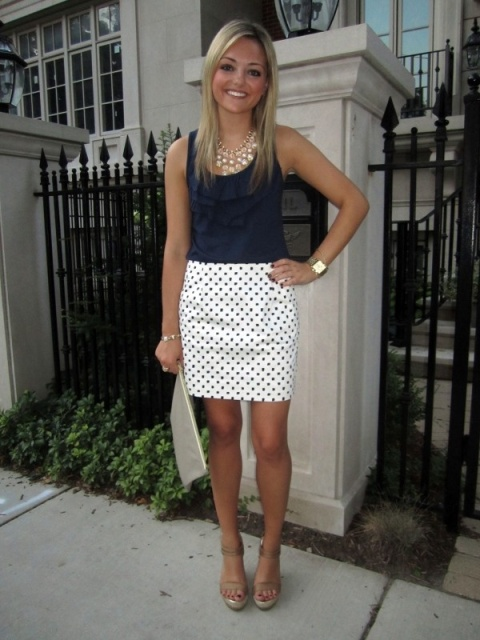 Classic look with polka dot skirt