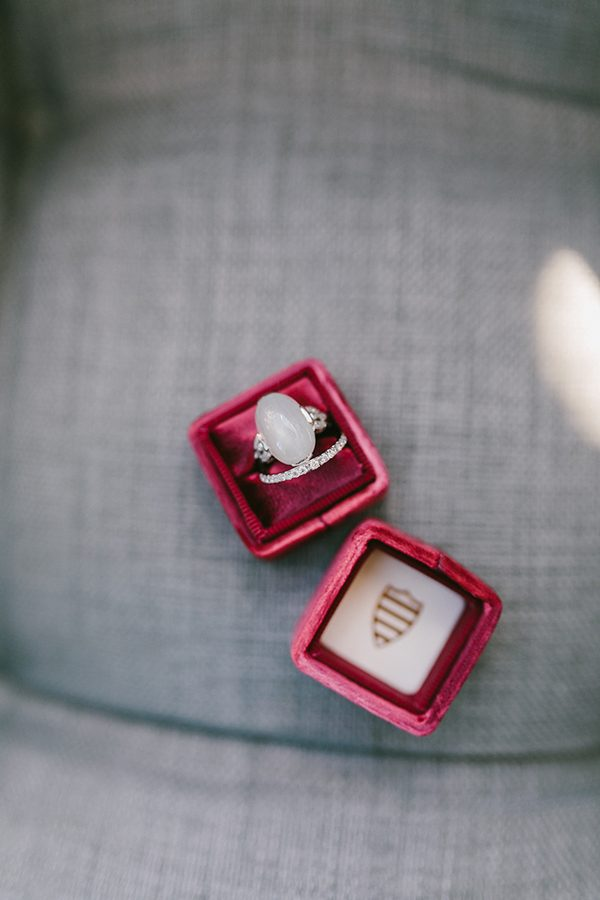 unique engagement rings - photo by Emily Delamater Photography http://ruffledblog.com/maine-wedding-with-an-emerald-green-gown