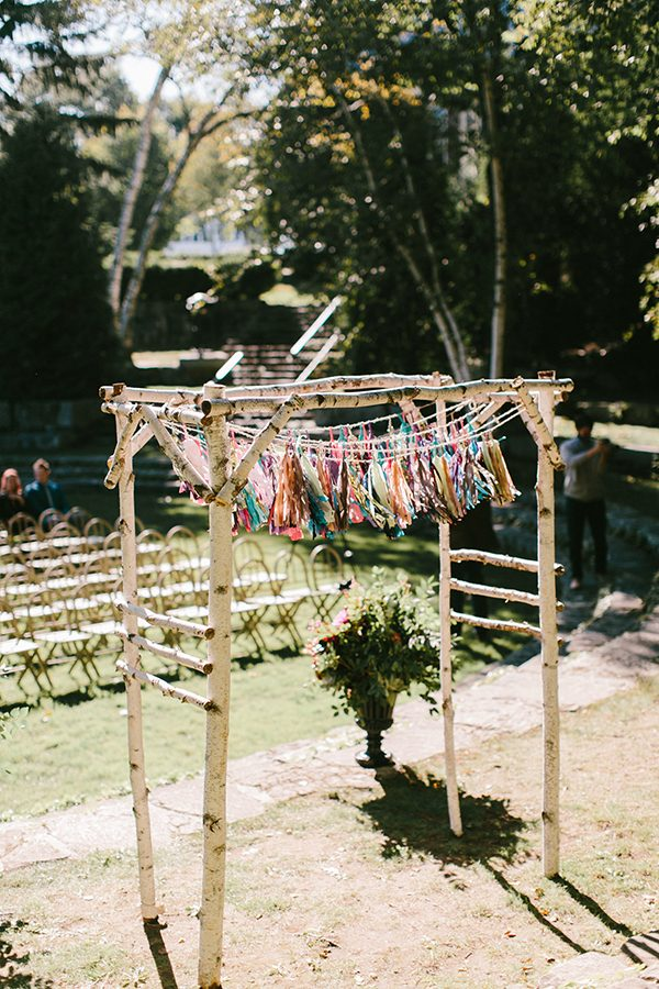 wedding ceremony arbor ideas - photo by Emily Delamater Photography http://ruffledblog.com/maine-wedding-with-an-emerald-green-gown