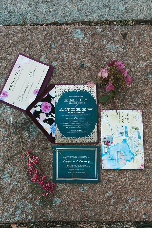 plum wedding invitations - photo by Emily Delamater Photography http://ruffledblog.com/maine-wedding-with-an-emerald-green-gown