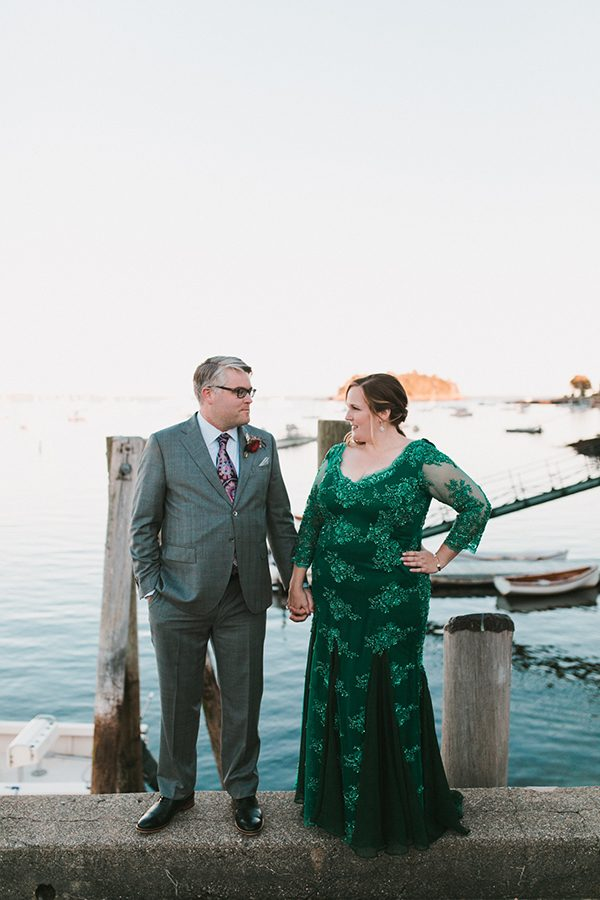 colorful wedding dresses - photo by Emily Delamater Photography http://ruffledblog.com/maine-wedding-with-an-emerald-green-gown