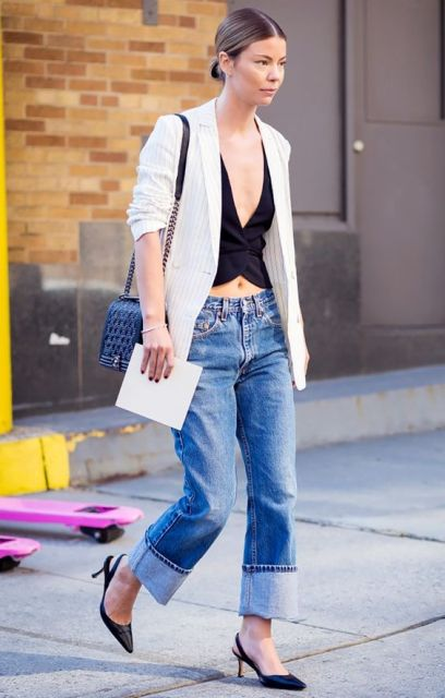 Low slung jeans with striped jasket and black top