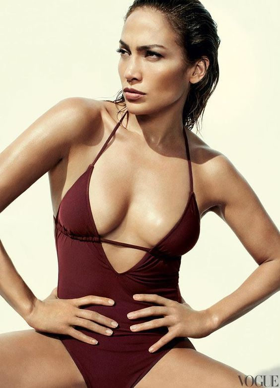 J.Lo rocking a deep V cut marsala one piece swimsuit