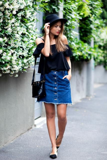 Outfit with off the shoulder top