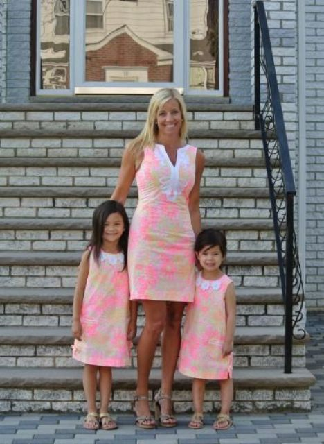 bold watercolor dresses for a mom and daughters