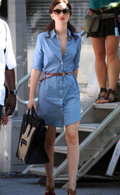 Denim shirtdress with leather belt