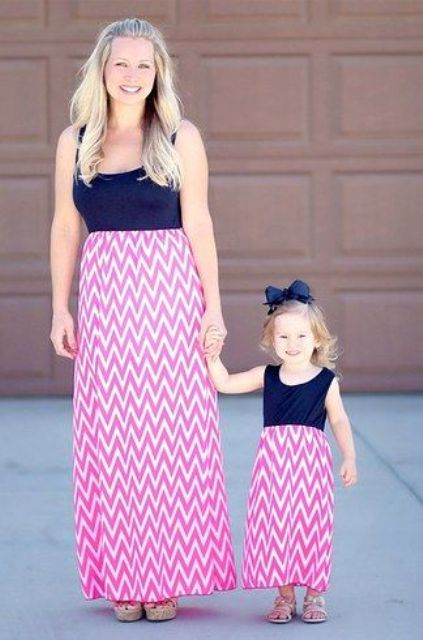 pink and white chevron skirts and navy tops