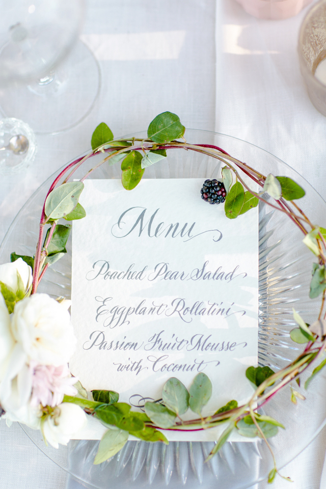 Wreath with berries and flowers around menu | Set Free Photography