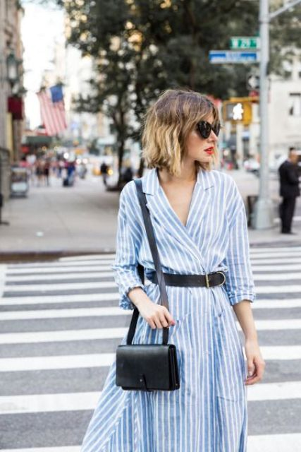 Striped wrap dress with belt
