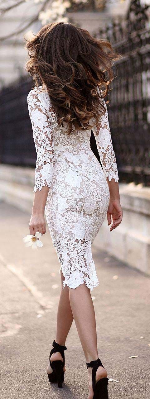 white lace knee length dress