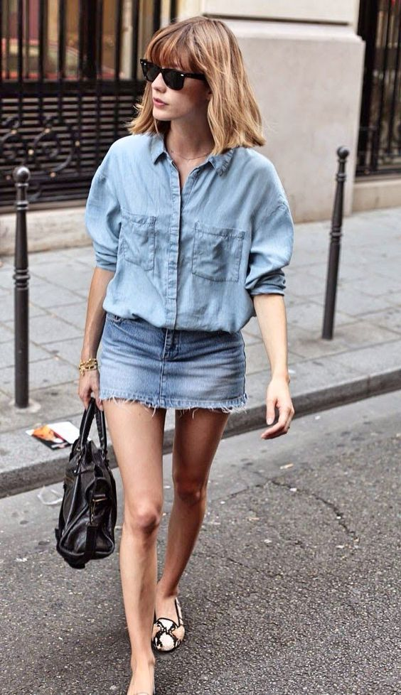 double denim look with a denim mini and a denim shirt