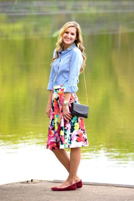 Denim shirt with watercolor skirt