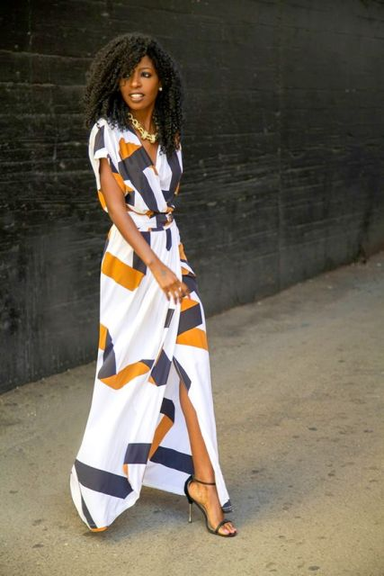 Awesome print maxi wrap dress