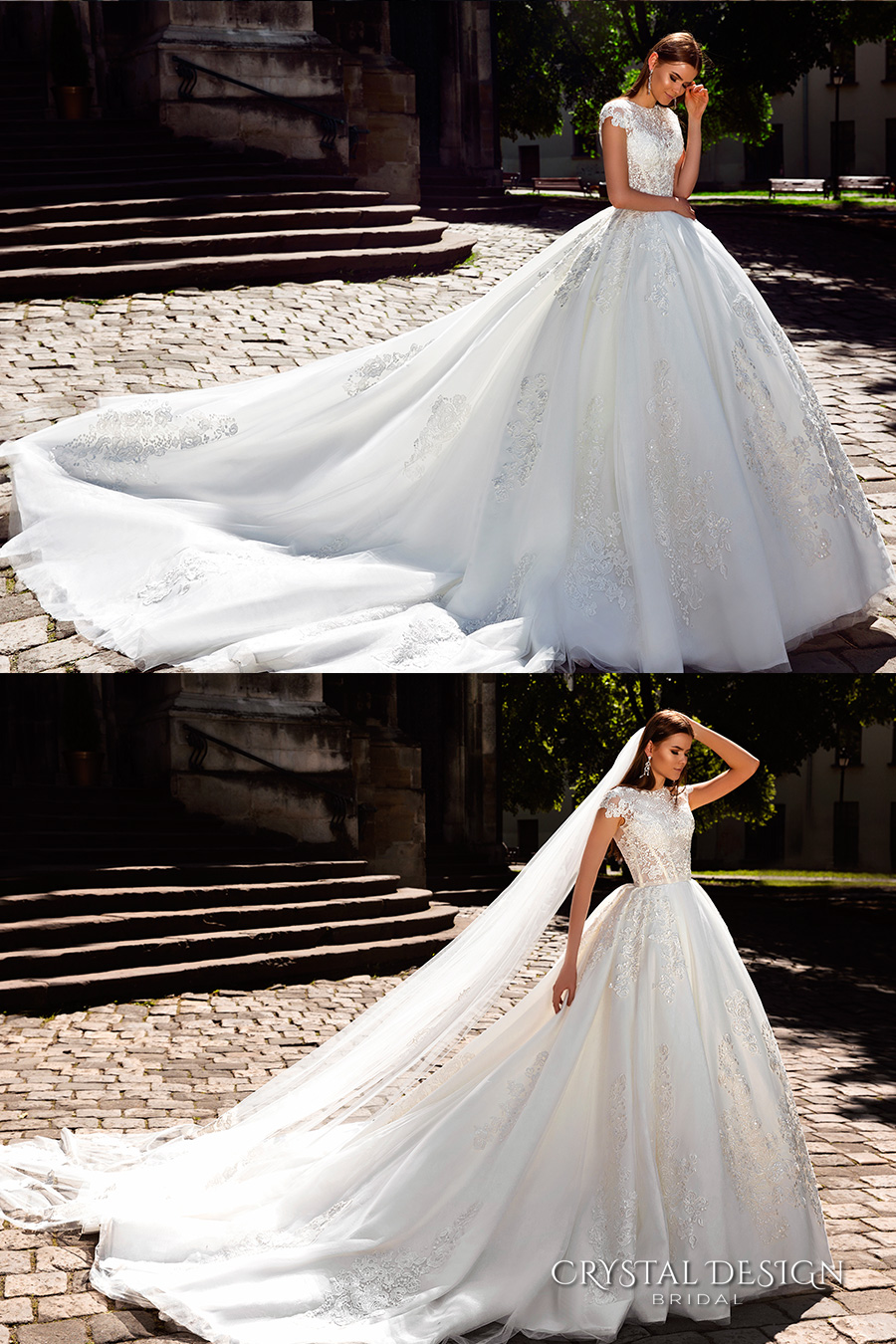 crystal design bridal 2016 cap sleeves jewel neckline heavily embellished bodice princess ball gown wedding dress monarch train (golden) fv