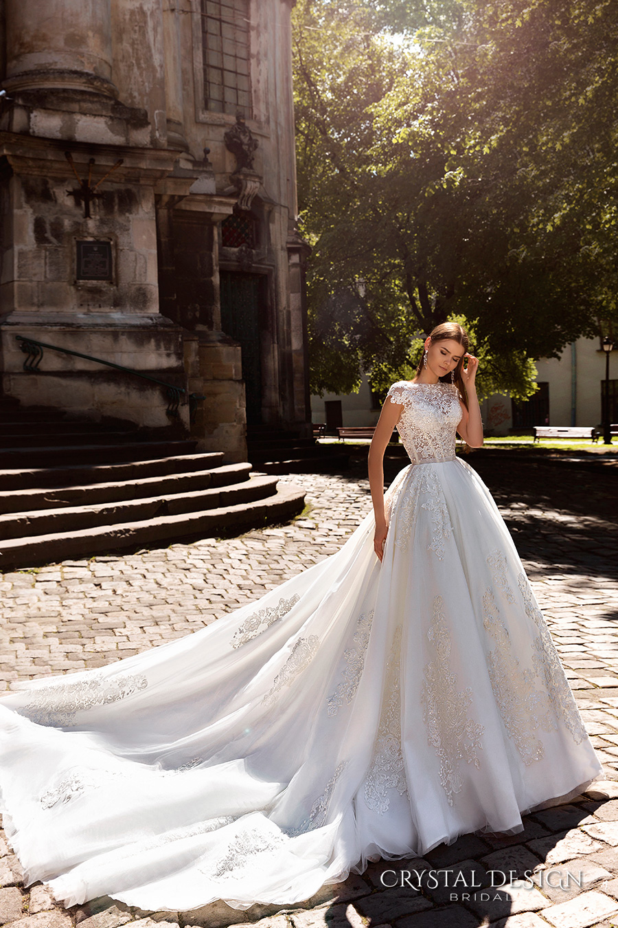 crystal design bridal 2016 cap sleeves jewel neckline heavily embellished bodice princess ball gown wedding dress monarch train (golden) mv