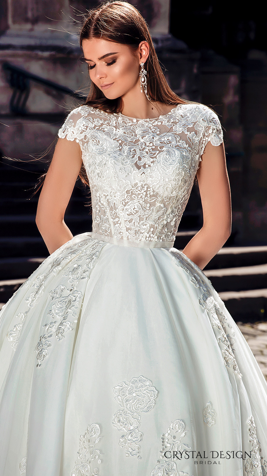 crystal design bridal 2016 cap sleeves jewel neckline heavily embellished bodice princess ball gown wedding dress monarch train (golden) zv