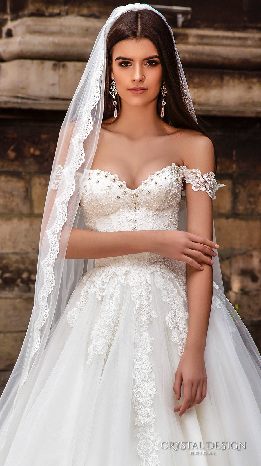 crystal design bridal 2016 off the shoulder sweetheart neckline bustier heavily embellished bodice princess a line ball gown wedding dress chapel train (verona) zv