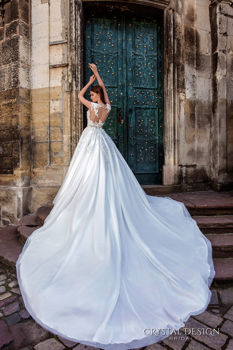 crystal design bridal 2016 sleeveless illusion boat sweetheart neckline heavily embellished bodice princess a line ball gown wedding dress sheer back royal train (pilar) bv